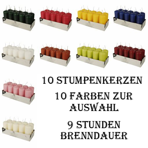 10 Stumpenkerzen dunkelblau Ø 40 mm 90 mm Stumpe Block Kerzen Party Weihnachten