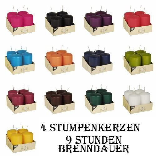 4 stumpenkerzen 50 mm x 80 mm farbig blockkerzen adventskerzen hochzeit. Black Bedroom Furniture Sets. Home Design Ideas