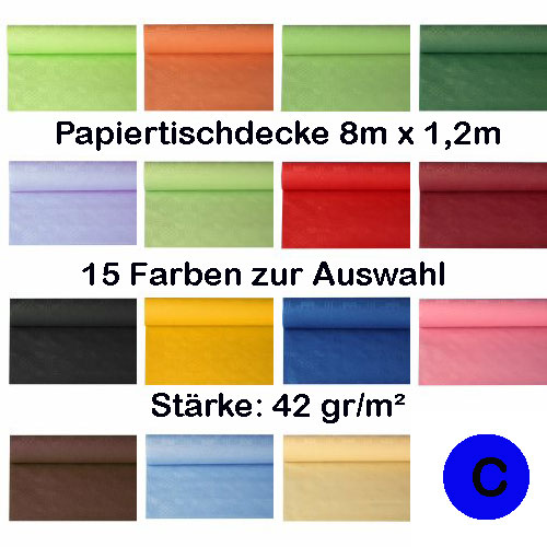 papiertischdecke tischtuch 8m x 1 2m einweg damast rolle farbig ebay. Black Bedroom Furniture Sets. Home Design Ideas