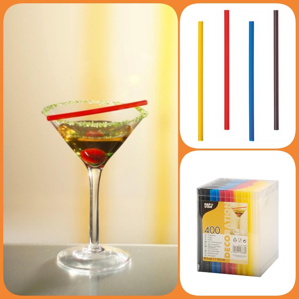400 neon Cocktail Trinkhalme Ø 6,5 mm 12,5 cm Longdrinks Party Papstar